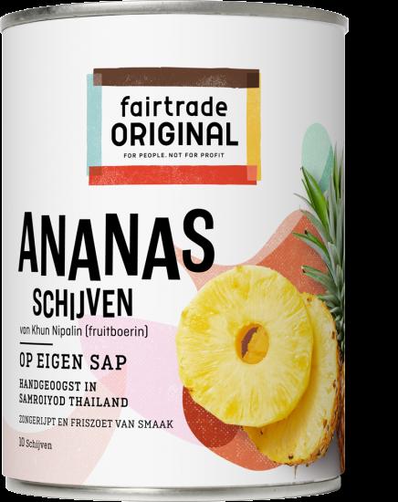Ananasschijven op eigen sap