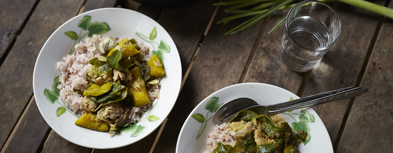 Thaise groene curry met pompoen