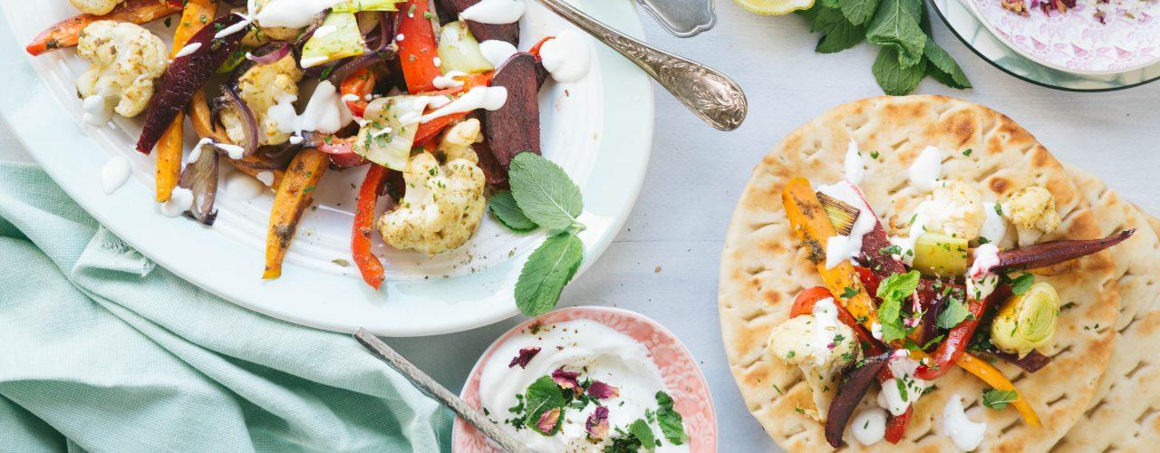 Geroosterde groenten met labneh