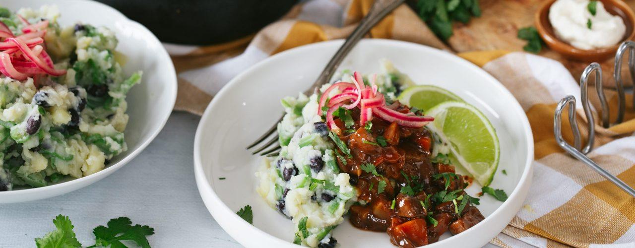 Vegetarische Barbacoa stoof met Mexicaanse puree