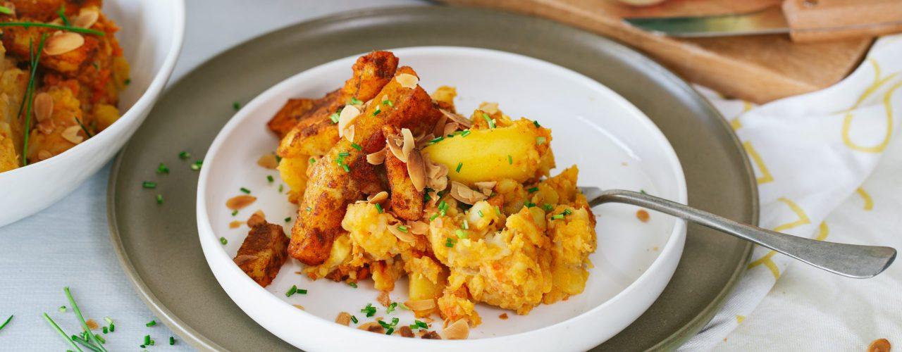 Thaise Gele Curry-hutspot met halloumi